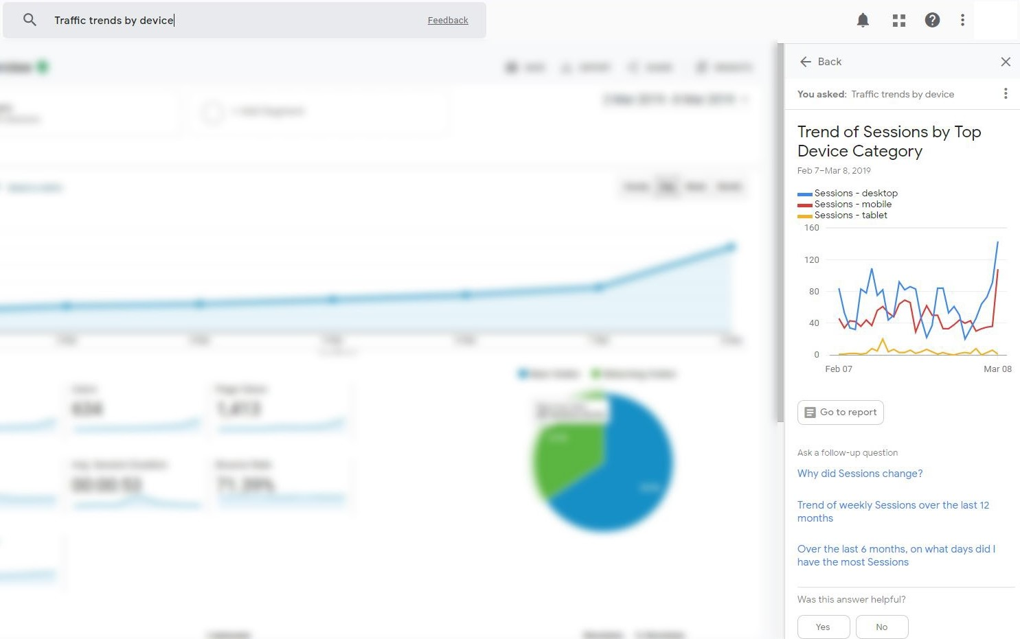 Google Analytics Search Bar